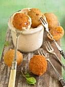 Minty sweet potato croquettes, harissa mayonnaise