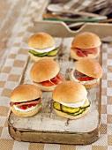 Assortment of mini burgers