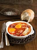 Egg, tomato and ham bake
