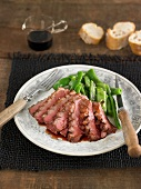 Duck magret with Port sauce, runner beans
