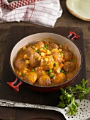 Meatball and spring vegetable casserole