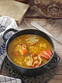 Rice and lobster broth