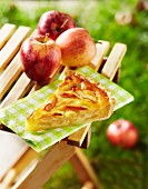 Slice of apple pie outdoors