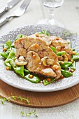 Sweetbreads with sugar peas