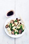 Shiitake, tofu and Swiss chard stir-fry