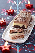 Three chocolate ice cream terrine