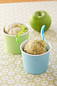 Granny Smith apple sorbet and pear sorbet