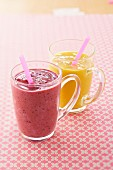 Chilled summer fruit smoothie and mango smoothie