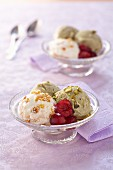Sesame ice cream and pistachio ice cream