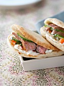 Lamb,vegetable and Greek yoghurt pitta bread sandwich