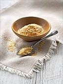 Small bowl of wheat flakes