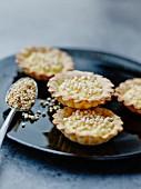 Lemon and puffed spelt tartlets