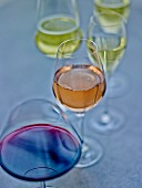 Glasses of red, rosé and white wine
