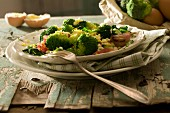 Broccolis with raw ham and mimosa eggs
