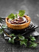 Chocolate,lemon balm and Sechuan pepper tartlet