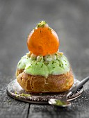 Lime and confit clementine Religieuse