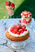 Strawberry cream and sponge cake
