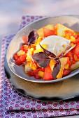 Calisson-Eis, Kompott aus Wasser- und Honigmelone mit lila Basilikum