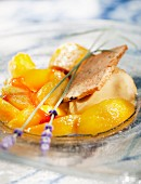 Peaches with honey caramel,peach sorbet and lemon shortbreads