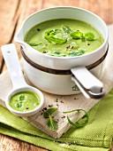 Erbsen-Rucola-Cremesuppe mit Minze