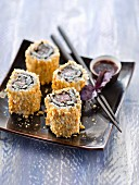 Tuna and Tuc crumb Californian rolls