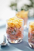 Salmon duo tartare with mayonnaise and crumbled crisps