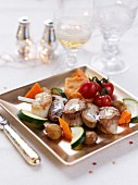 Scallops and cep brochette,vegetables and chestnuts