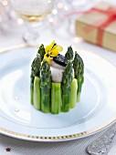 Green aspargus and truffled mascarpone cream charlotte