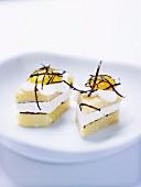 Polenta,feta,quail's egg and nori seaweed bites