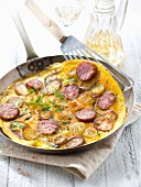 Leek,potato and Morteau sausage omelette