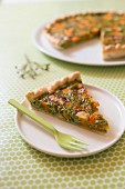 Carrot with tops and Cantal cheese savoury tart