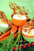 Carrot cupcake with fromage frais topping,sesame seed nougatine