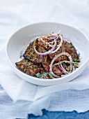 Spicy fried lamb's liver ,red onion salad