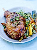 Leg of lamb with tender vegetables