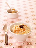 Rice pudding with toffee sauce