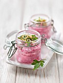Beetroot mousse with parsley and walnuts