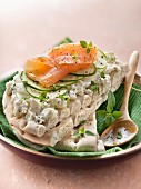 Philadelphia, cucumber and smoked salmon Sweedish open sandwich
