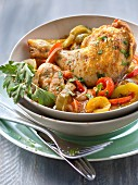 Poulet Basquaise with three colored peppers