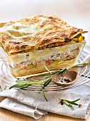 Flaked tuna and ratatouille lasagnes