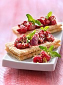 Crushed raspberry and mint open sandwich