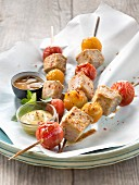 Red tuna,yellow and red cherry tomato brochettes,mustard sauce and vinaigrette