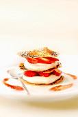 Poppyseed filo pastry, strawberry and cream Mille-feuille with coulis
