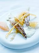 Poached endives with honey,milk skin,grapefruit and confit orange at The Café Bras restaurant in Rodez