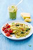Spaghettis with tomatoes,basil,walnuts and pesto