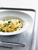 Fettucelle with green asparagus and parmesan cheese