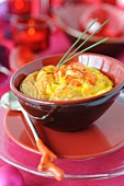 Saffron-flavored crayfish tail soufflé