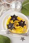 Mango tagliatelles marinated in lime,chocolate stars