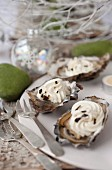 Oysters with whipped cream,foie gras and truffles