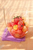 Mixed melon and watermelon ball fruit salad with thyme and Muscat de Beaumes-de-Venise