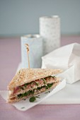 Parma ham,hummus,parsley and mint club sandwich